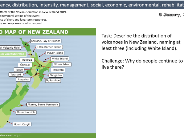 New Zealand Volcanic Eruption 2019 Case Study- Natural Hazards- A Level Geography