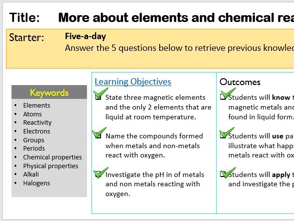 KS3 More about elements and chemical reactions with oxygen