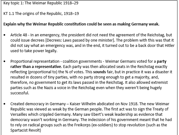 Weimar and Nazi Germany revision - Edexcel 9-1 - Explain why questions with evidence