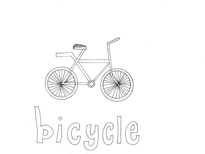 Bicycle: Transport and Travel: Colouring Page