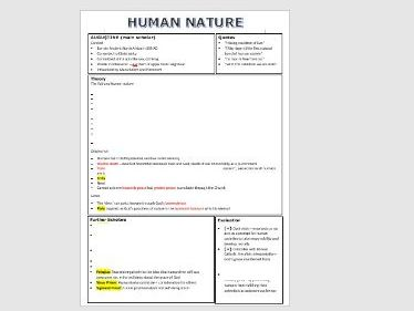 Christian thought : Human Nature Summary