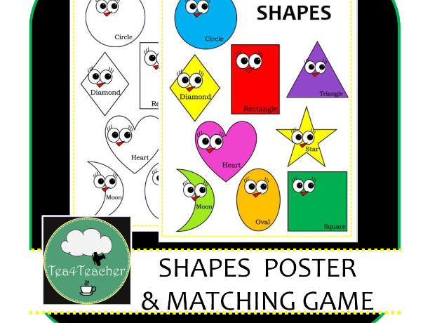 Shapes Game - Match and Stick the Cute Colourful Shapes - Shape Recognition for Preschool Kids