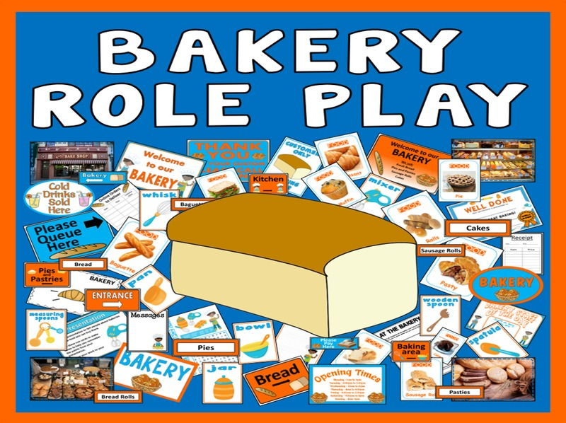 BAKERY ROLE PLAY TEACHING RESOURCES FOOD EYFS KS1-KS2 EXPRESSIVE PLAY