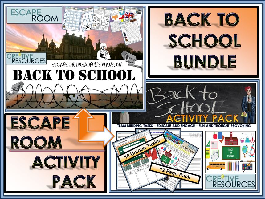 Back to School Escape Room Activity Bundle