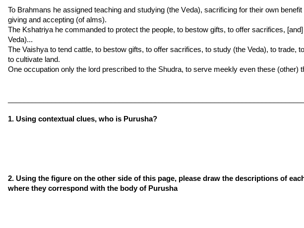The Vedas, Hinduism, & The Caste System - Primary Source Analysis