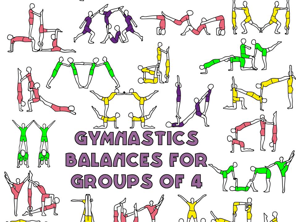 Group of 4 balances - Gymnastics sports acrobatics