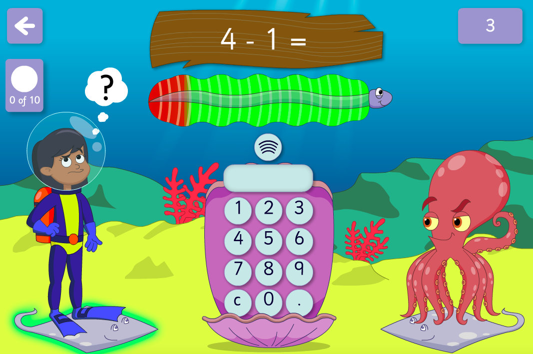 Subtraction to 100 - Beat the Octopus Interactive Game - KS1 Number