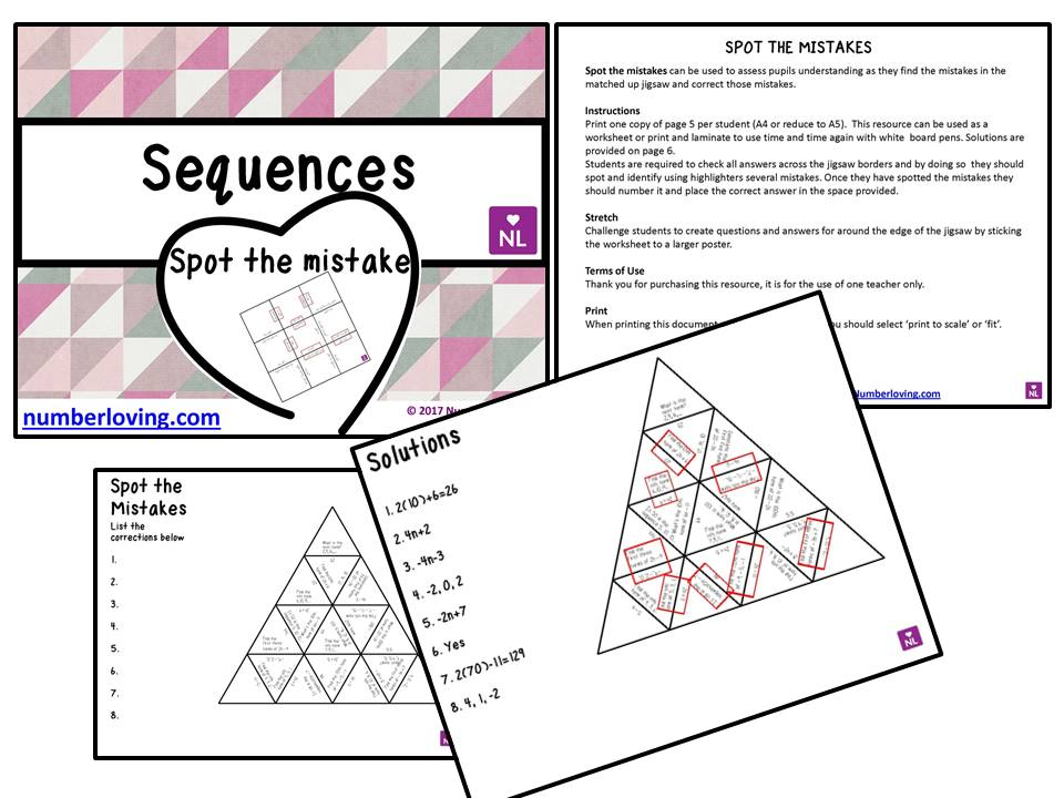 Sequences Spot the Mistake Worksheet