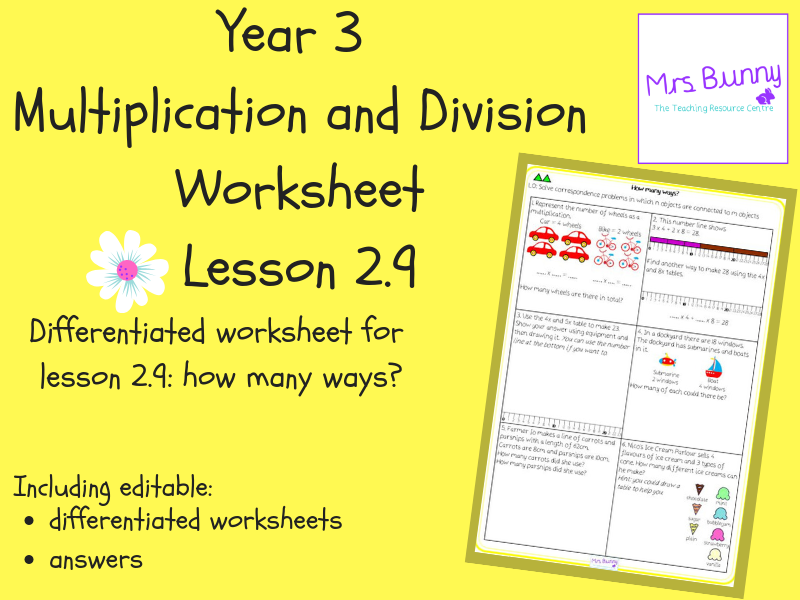 9. Multiplication and Division (2): how many ways? worksheets (Y3)