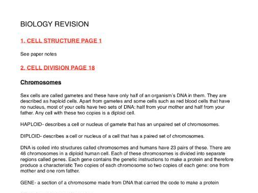 Biology GCSE every topic revision notes