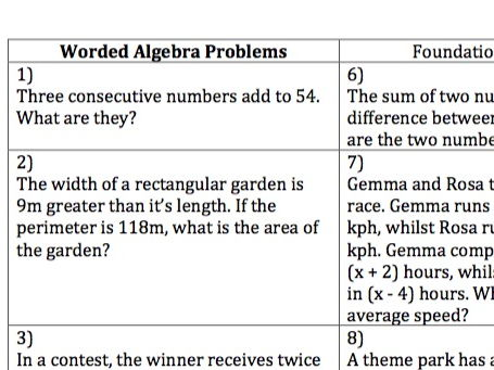 GCSE Maths - 10 Worded Algebra Questions and Answers