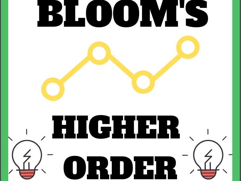 BLOOMS Higher Order Thinking Decorative Reference Cards