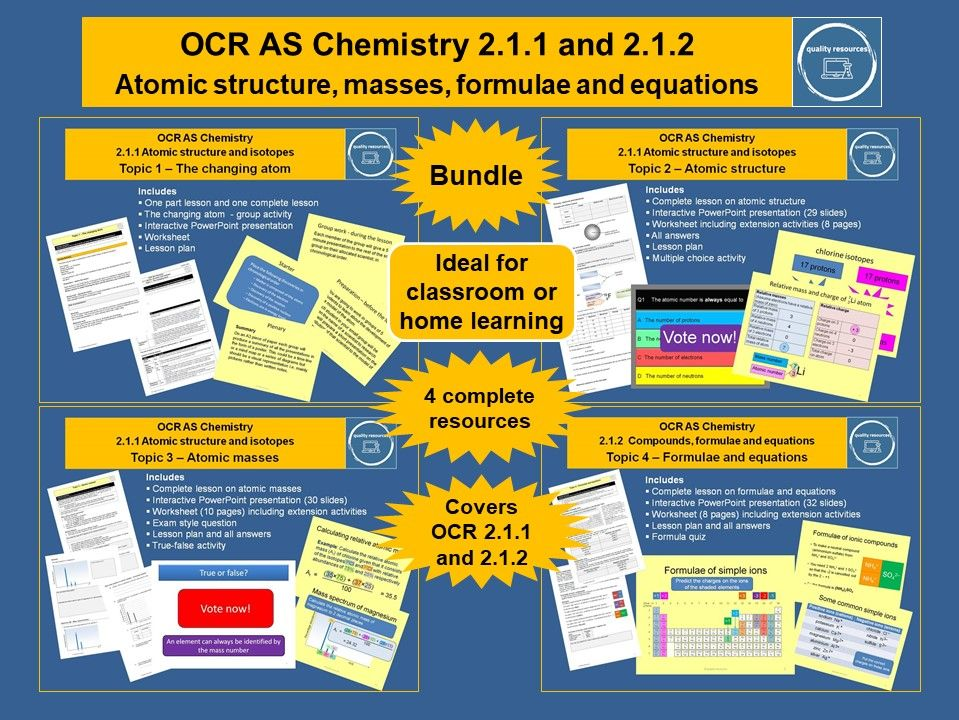 Atomic structure, masses, formulae and equations OCR AS Chemistry
