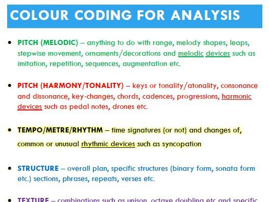 GCSE Music 9-1 Listening & appraising suggested colour-coding for Analysis