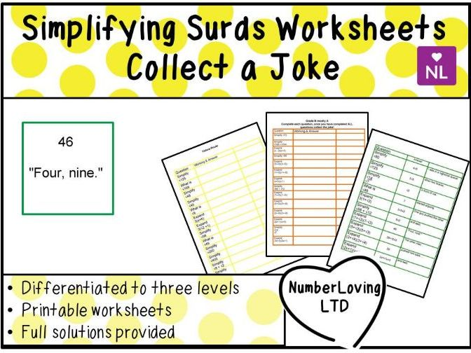 Simplifying Surds Worksheets Collect a Joke