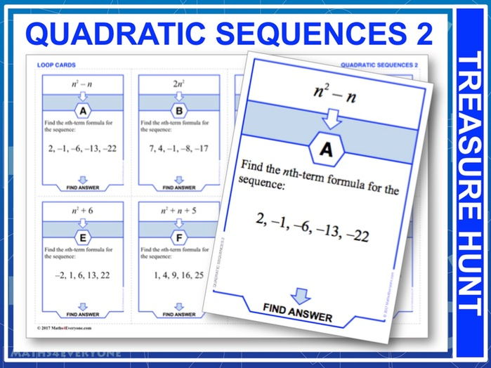 Quadratic Sequences 2 (Treasure Hunt)