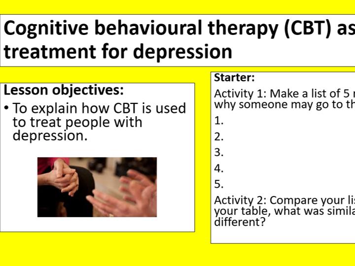 GCSE Edexcel Psychology (9-1): Topic 3: Psychological problems, Lesson 4:CBT & depression
