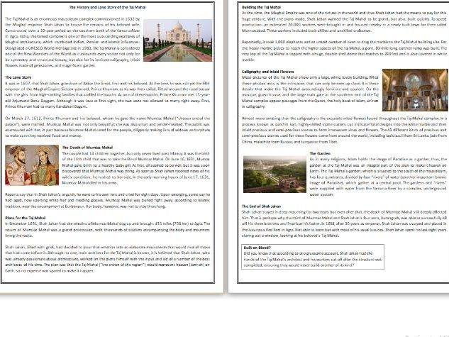 The History and Love Story of the Taj Mahal - Reading Comprehension Worksheet / Text