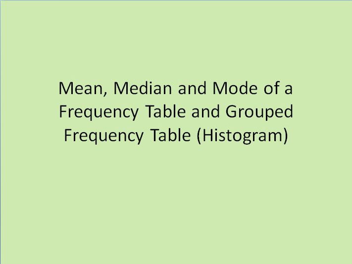 Finding the mean,median & mode of a Frequency Table & Grouped Frequency Tables