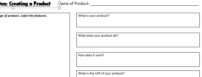 Dragons' Den: Create your own Product