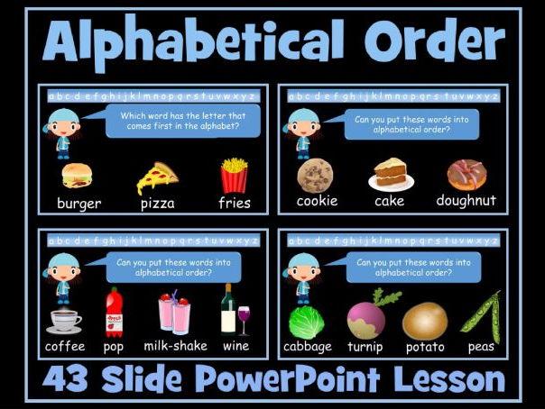 Alphabetical Order - 43 Slide PowerPoint Lesson