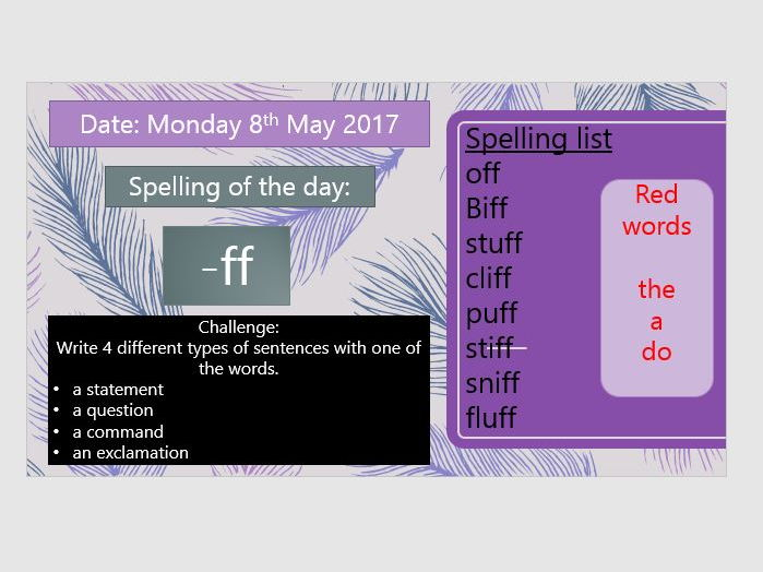 Year 1 Spellings and Exception Words - Sound a day