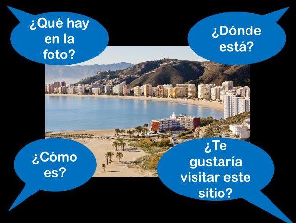 Spanish GCSE Foundation holidays photo card pratice