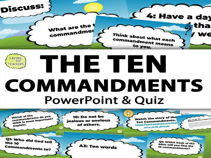 Religious Education: The Ten Commandments PowerPoint and Quiz