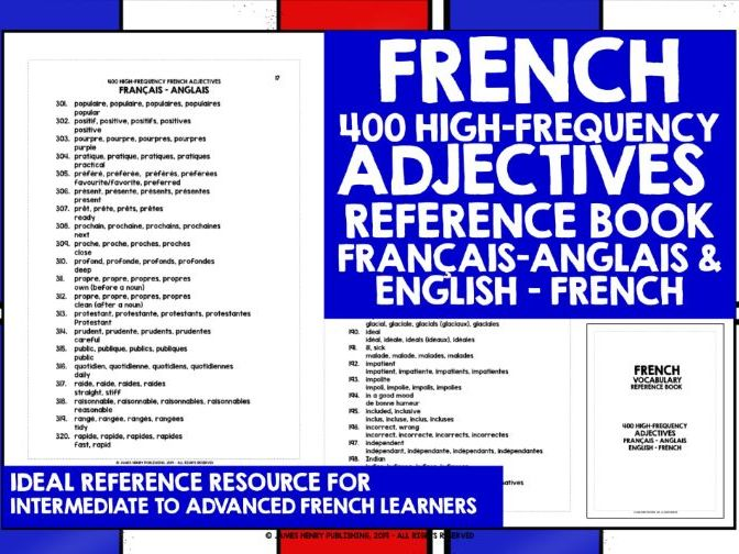 FRENCH ADJECTIVES REFERENCE BOOK 1