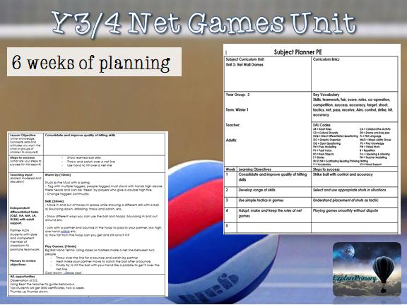PE Net Games Unit LKS2 - 10 lessons