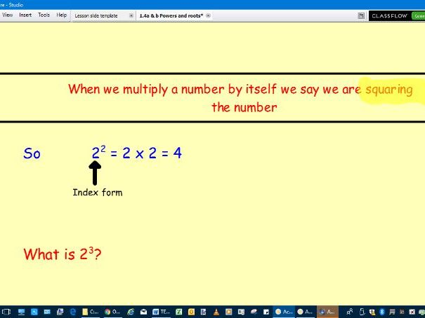 Lesson to teach square numbers, roots and higher powers