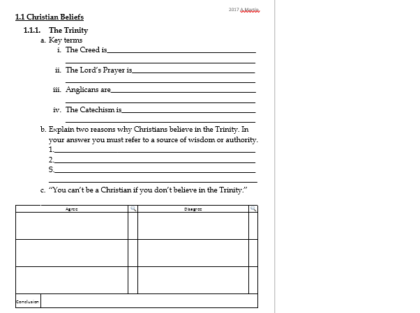 Living the Christian Life- Revision Worksheets