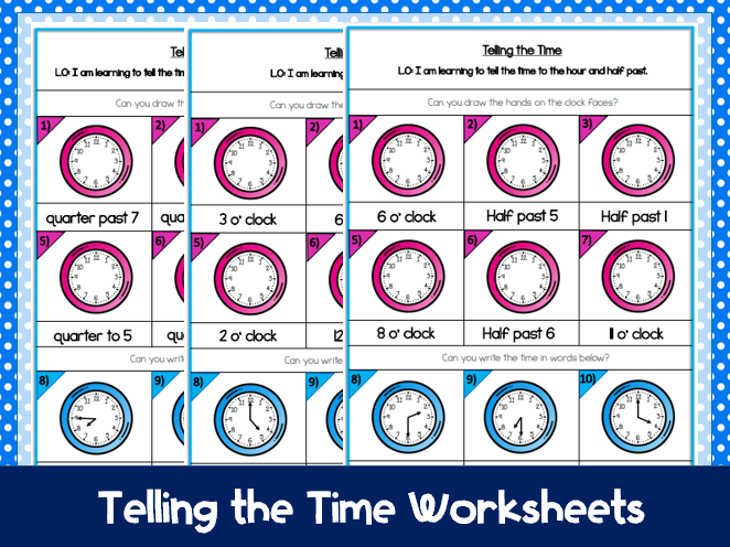 Year 2: Telling the Time (differentiated worksheets)