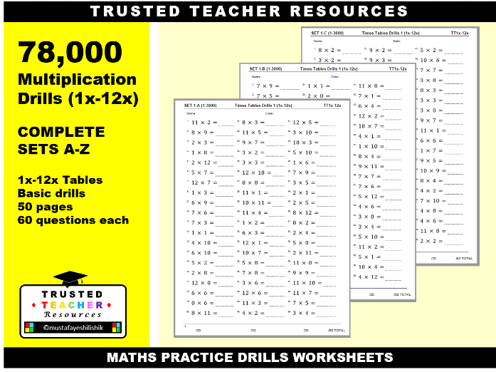 78,000 Times Tables Drills 1x-12x (COMPLETE SET A-Z)