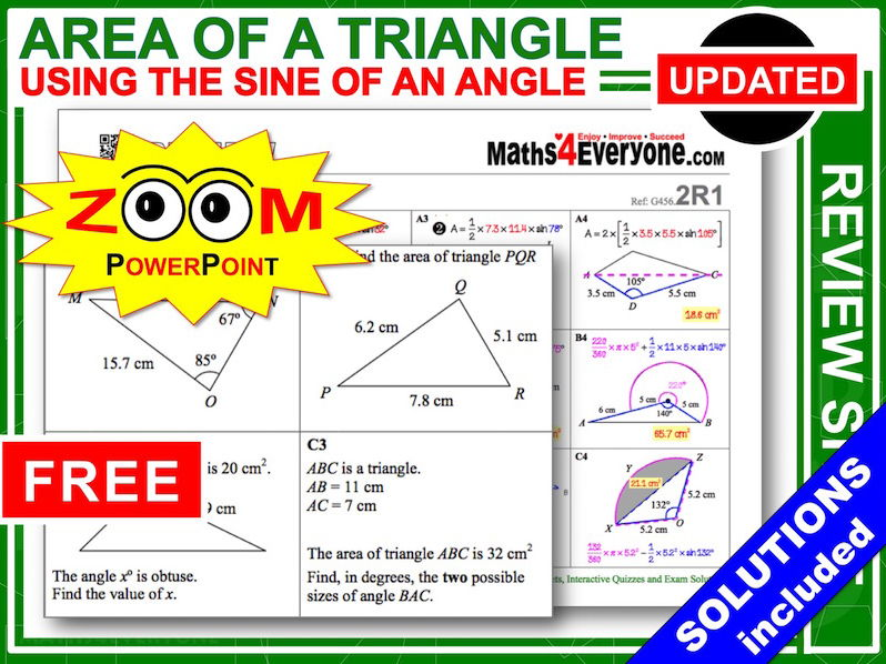 GCSE Revision (Area of a Triangle: Advanced)