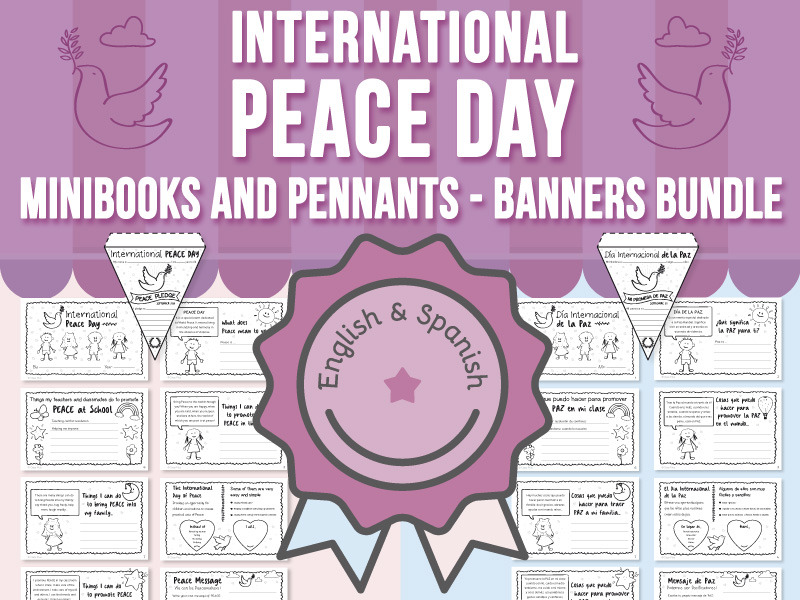 International Peace Day Minibooks and Pennants - Banners BUNDLE