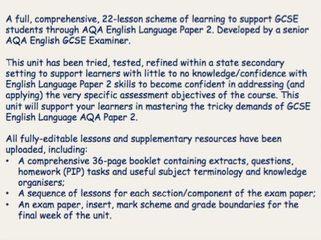 Full Scheme of Learning - AQA English Language Paper 2 GCSE