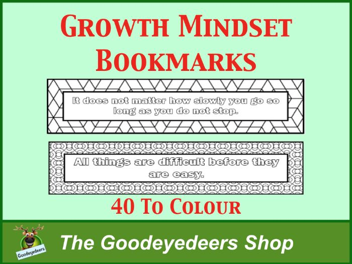 Growth Mindset Bookmarks To Colour