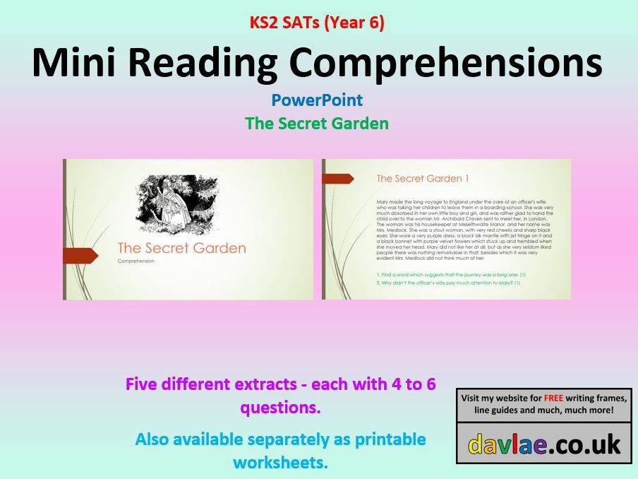 year 6 mini comprehensions powerpoint the secret garden 201617 sats style questions
