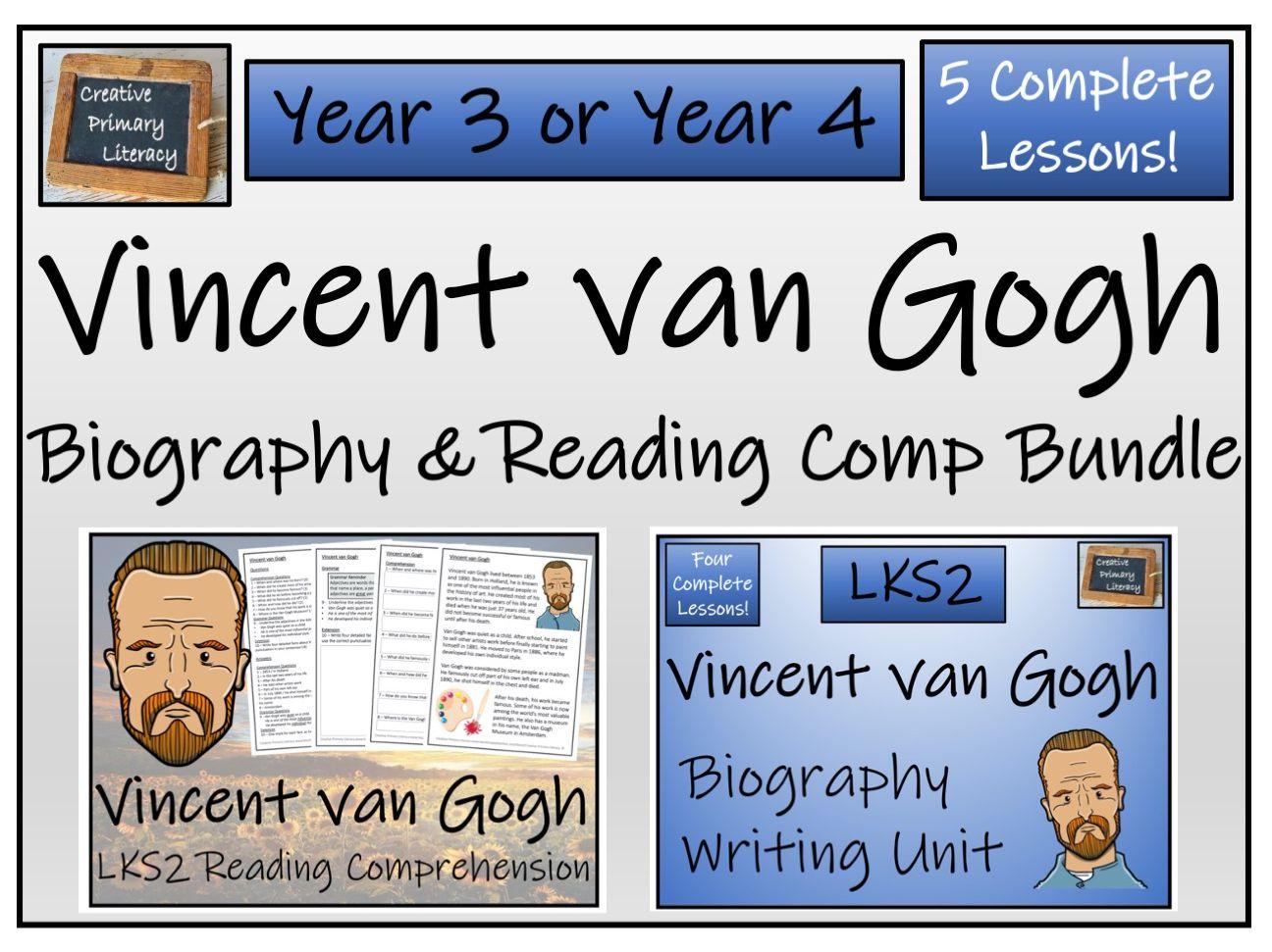 LKS2 Vincent van Gogh Reading Comprehension & Biography Bundle