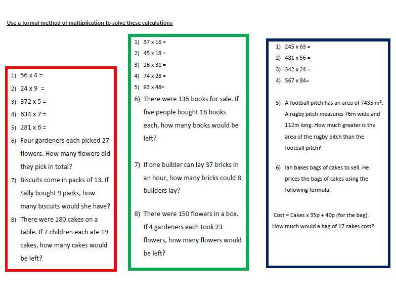 A Worksheet on Multiplication   (1)