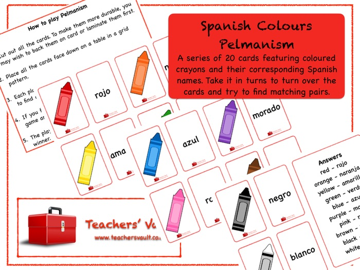 Spanish Colours Pelmanism Game