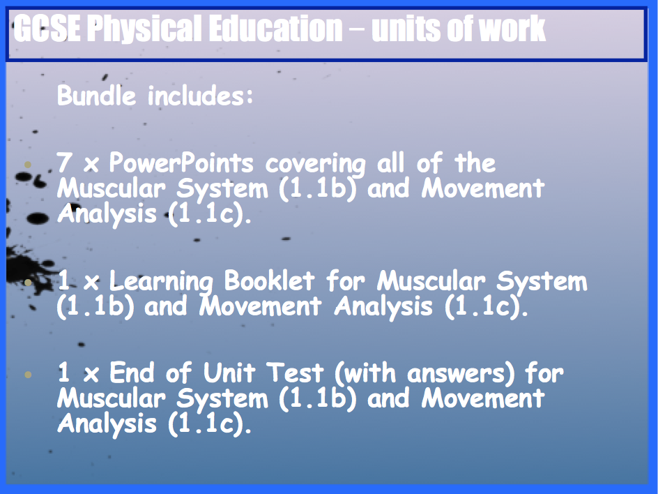 GCSE OCR PE Muscular System (1.1b) and Movement Analysis (1.1c) Unit of Work