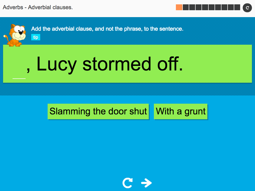Adverbial clauses - Interactive Activity - KS3 Spag