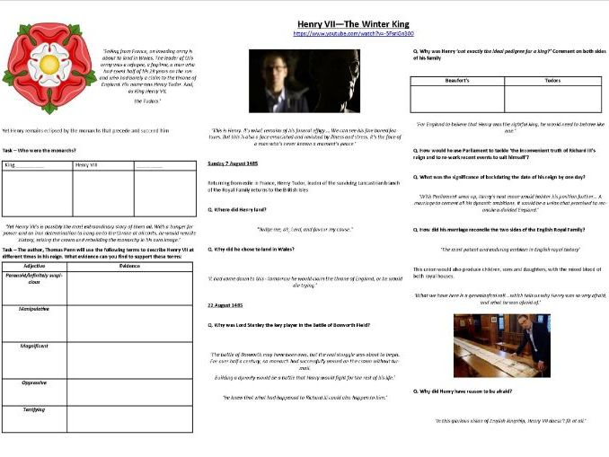 Henry VII - The Winter King - Worksheet to support the BBC TV Documentary