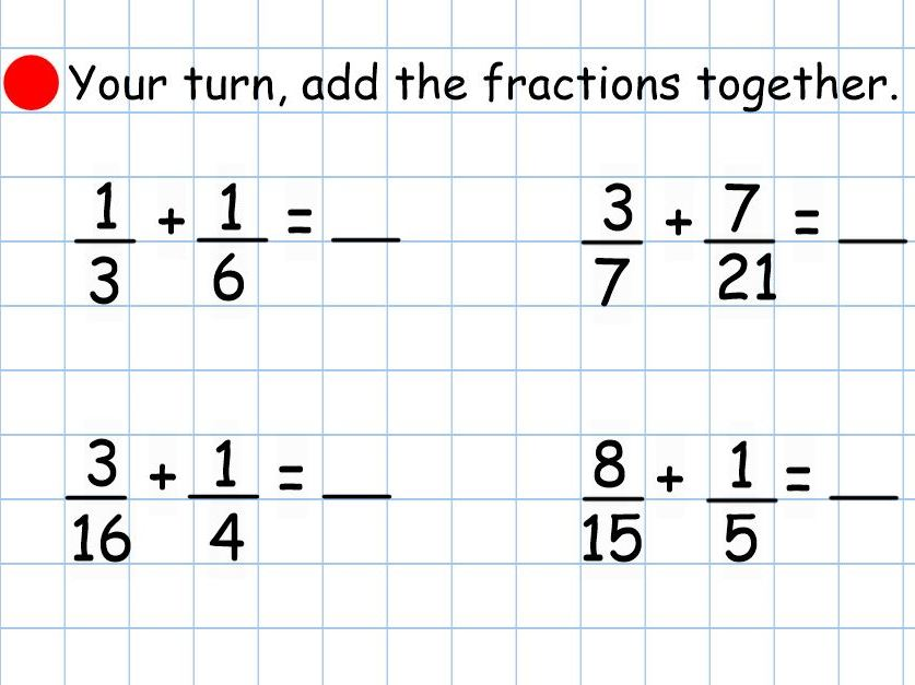 Adding Fractions Smart Notebook