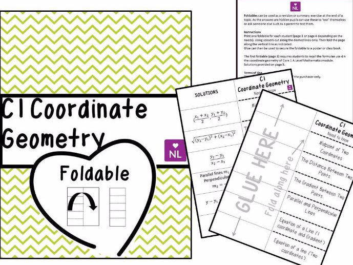 Core 1 Coordinate Geometry (Revision Foldable)