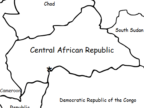 Central African Republic (C.A.R.) - Printable handout with map and flag