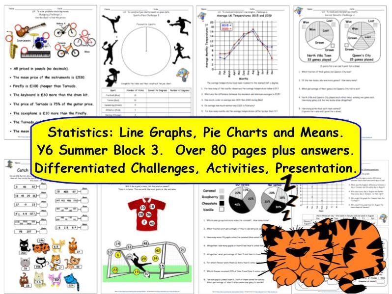Pie Charts, Line Graphs & Means Y6 Statistics Summer Block 3