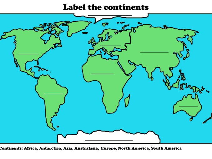 A Map Of The World With Labels.Label The Continents By Samrutland Teaching Resources